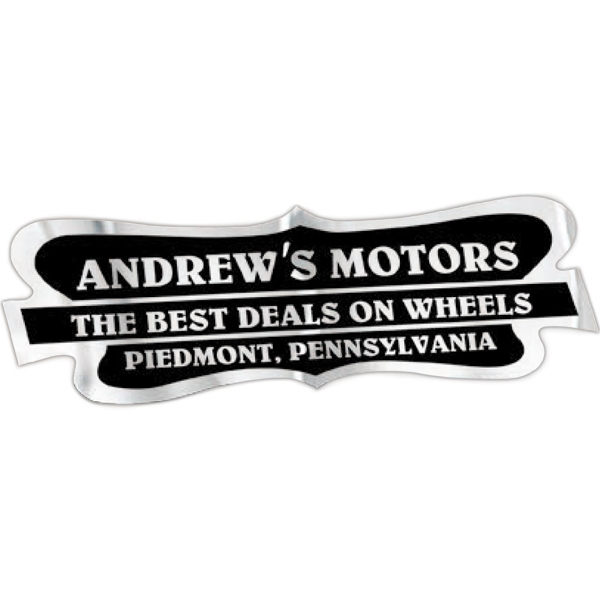 "Car-cals (r) - 1 7/8"" X 5 3/4"" - White Reflective Stock Shape Polyester Permanent Adhesive Decal Photo"