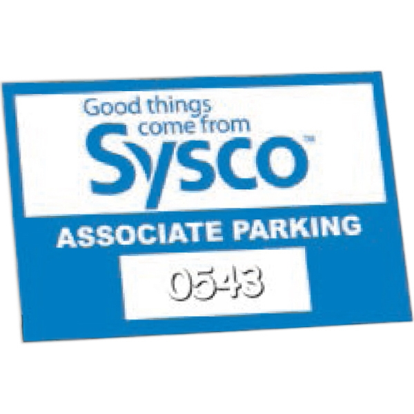 "Numbered - Clear Adhesive - Permanent Adhesive Inside Window Parking Permit Decal. 2"" X 3"" Photo"