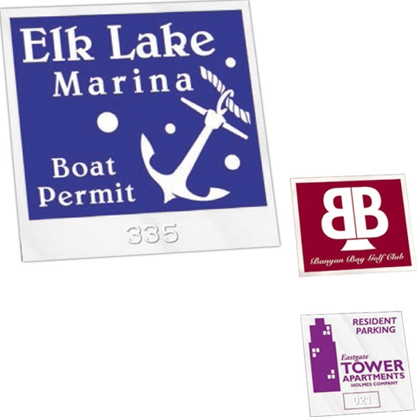 "Numbered - Clear Adhesive - Permanent Adhesive Inside Window Parking Permit Decal. 3"" X 3"" Photo"
