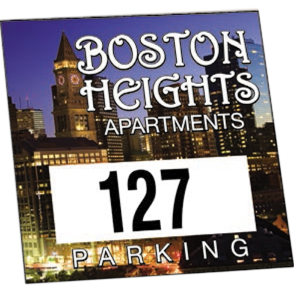 "Numbered Reflective 1 Color - Permanent Adhesive Outside Parking Permit Decal, 3"" X 3"" Photo"