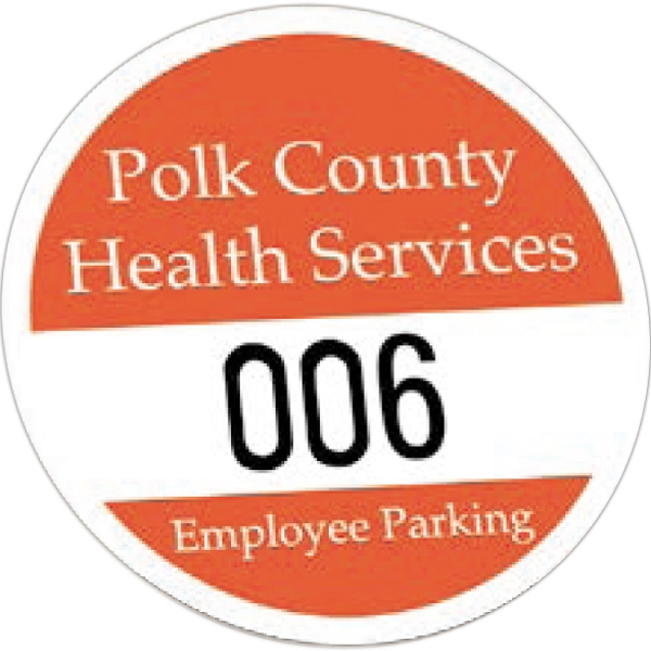Round White Vinyl Numbered Outside Parking Permit Decal