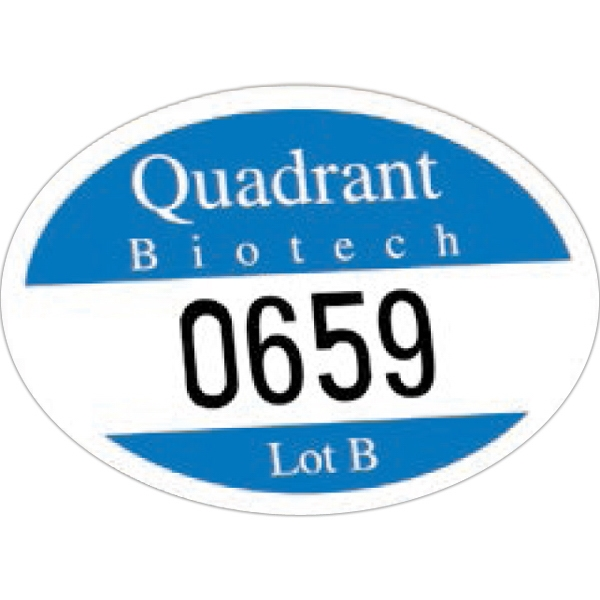 "Numbered Reflective 1 Color - Permanent Adhesive Outside Parking Permit Decal, 2"" X 2 3/4"" Photo"