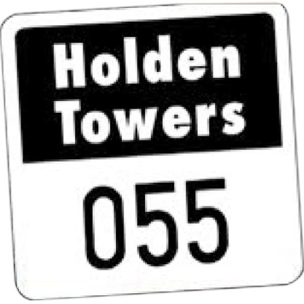 "Numbered Vinyl 1 Color - Permanent Adhesive Outside Parking Permit Decal, 1 3/4"" X 1 3/4"" Photo"
