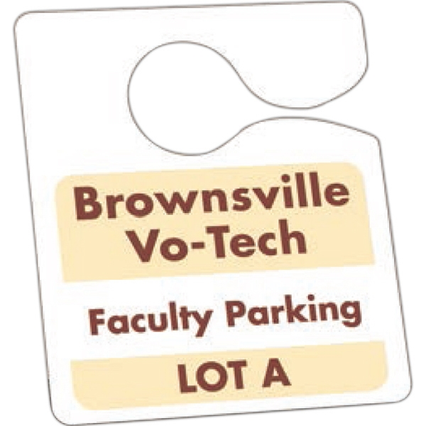 "Not Numbered .035"" White Recyclable Plastic - 3"" X 3 1/2"" - Durable Plastic Hanging Parking Permit Photo"