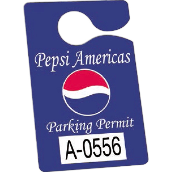 "Numbered .010"" White Plastic - 3"" X 4 3/4"" - Durable Plastic Hanging Parking Permit Photo"