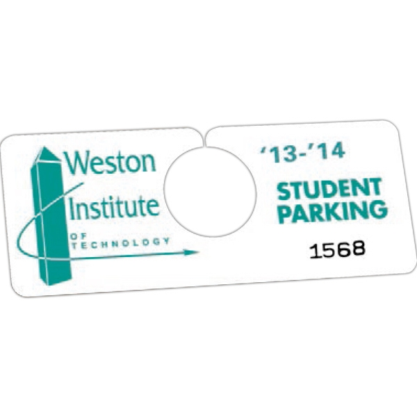 "Not Numbered .035"" White Recyclable Plastic - 2"" X 5"" - Durable Plastic Hanging Parking Permit Photo"
