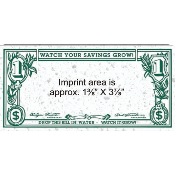 "Super-soaker - White Dollar Sponge That Expands Your Message When Wet. 2 1/2"" X 5 1/8"" X 1/8"" Dry Photo"