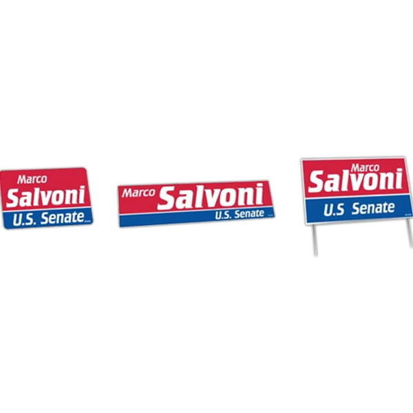 One Color - Political Campaign Kit With Lapel Stickers, Bumper Stickers, And Yard Signs Photo