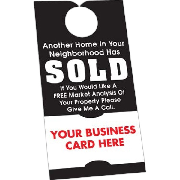 "Full Color Front - Stock Shape Door Hanger, 3 1/2"" X 6 3/4"", With Business Card Tab Photo"