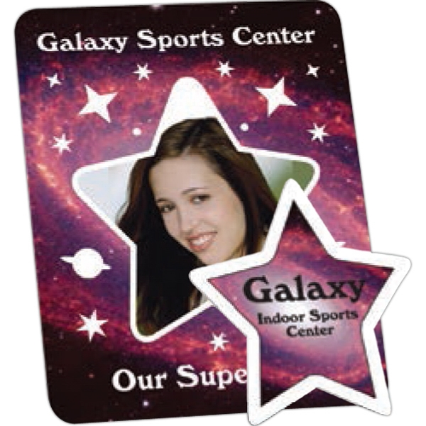 "One Color - .030"" Thickness - Star - White, Durable, Flexible Magnetized Vinyl Photo Frame Photo"