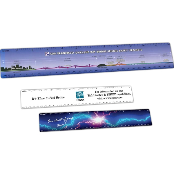 "1 Color - .015"" - Durable Plastic Ruler, 2"" X 12 1/4"" Photo"
