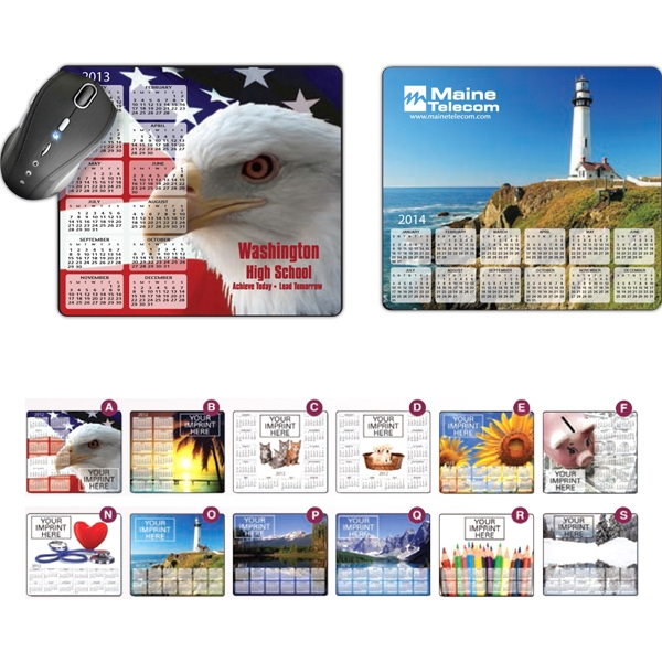 One Copy Color & One Background Color - Stock Art Soft Surface Mouse Pad With Calendar Photo