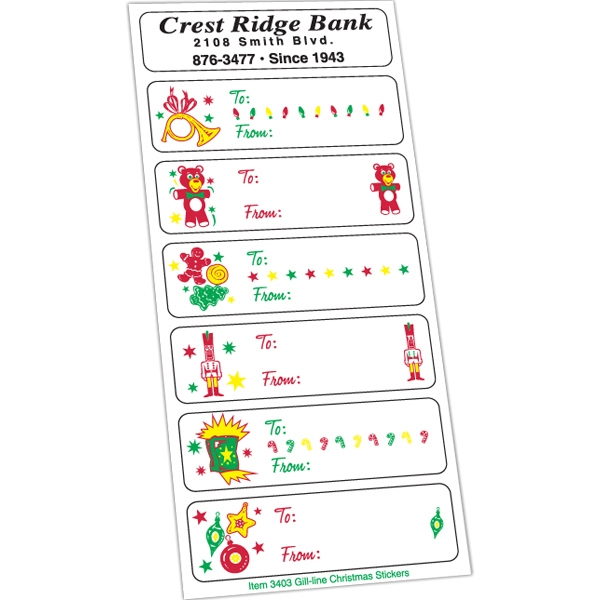 White Paper Christmas Holiday Sticker Sheet (Horn / Bear)