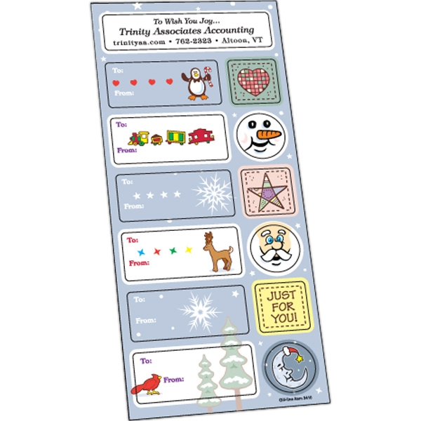 Holiday Stickers - White gloss paper holiday stickers.