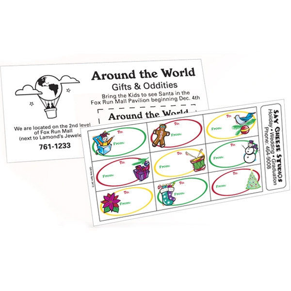 White Paper Christmas Holiday Sticker Sheet w/ Oval Label