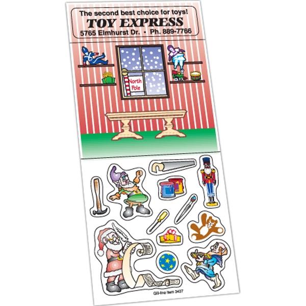 Peel N Play Christmas Sticker Sheet (Santa's Workshop Scene)