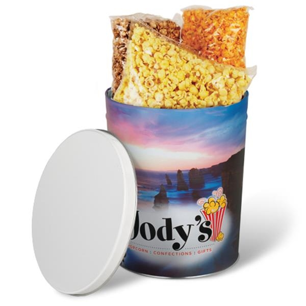 Custom Designed 3 Gallon Tapered Gift Tin With 28 Oz. 3-way Popcorn Photo