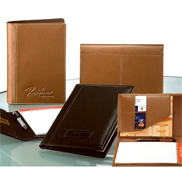Concord - English Tan - Cowhide Leather Junior Padfolio With Sleek Flap With Organizer Photo