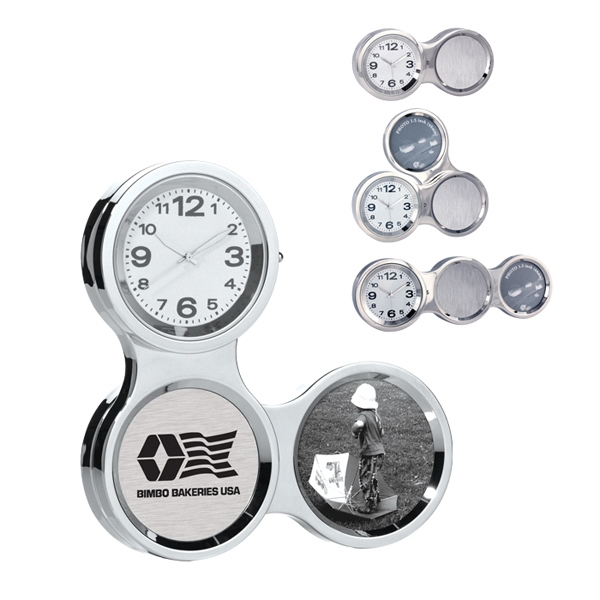 Multi-angle Chrome Aluminum Photo Frame Clock Photo