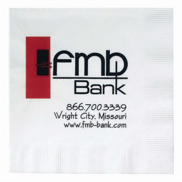 "500 Line - White Beverage Napkin With Coin Edge Embossing, 5"" X 5"" Photo"