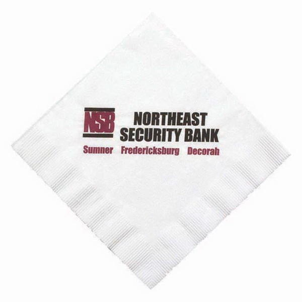 "High Lines - Folded 1-ply White Luncheon Napkin With Coin Edge Embossing, 6.5"" X 6.5"" Photo"