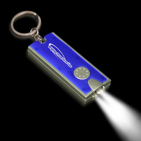 Silver & Blue LED Flashlight Keychain