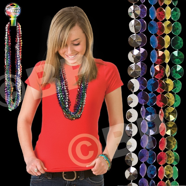 "33"" Diamond Beads Mardi Gras Necklace, Comes In Assorted Colors, Blank Photo"