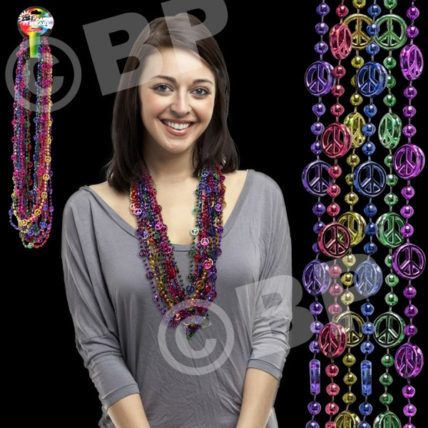 "33"" Peace Sign Mardi Gras Beads Necklace, Blank Photo"