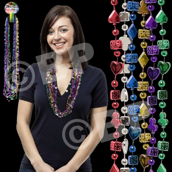 "33"" Casino Bead Mardi Gras Beads Necklace, Blank Photo"