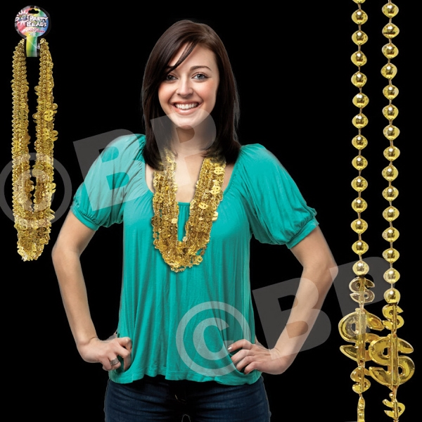 "36"" Gold Dollar Sign Mardi Gras Necklace, Blank Photo"