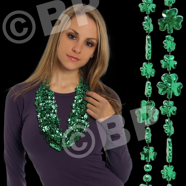 "33"" (7mm) Green Shamrock Beaded Mardi Gras Beads Necklace Photo"
