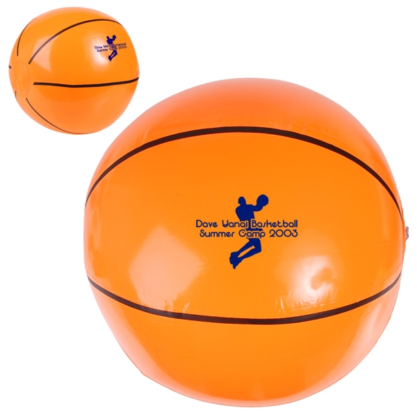 "Inflatable Beach Ball Designed To Look Like A Basketball, 14"" Photo"