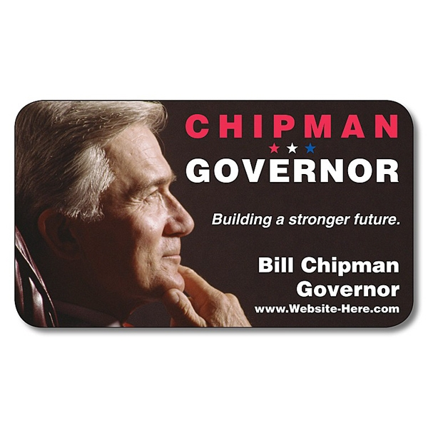 "Political Business Card Magnet - 3.5"" X 2"" Rectangle With Round Corners - 25 Mil Photo"