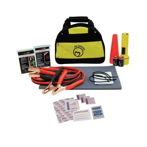 Bee Safe - Auto First Aid/ Safety Kit, 30 Pieces. Includes Flashlight, Booster Cables And More Photo