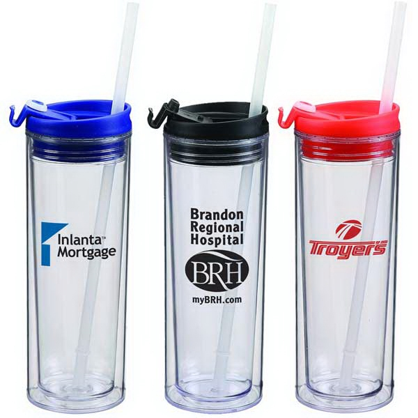 14 Oz. Double Wall Acrylic Tumbler With Snap Close Sip Top And A Straw Photo