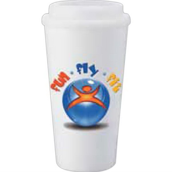 Mega Double-wall Plastic 16 Oz Tumbler With Plastic Twist-off Lid Photo