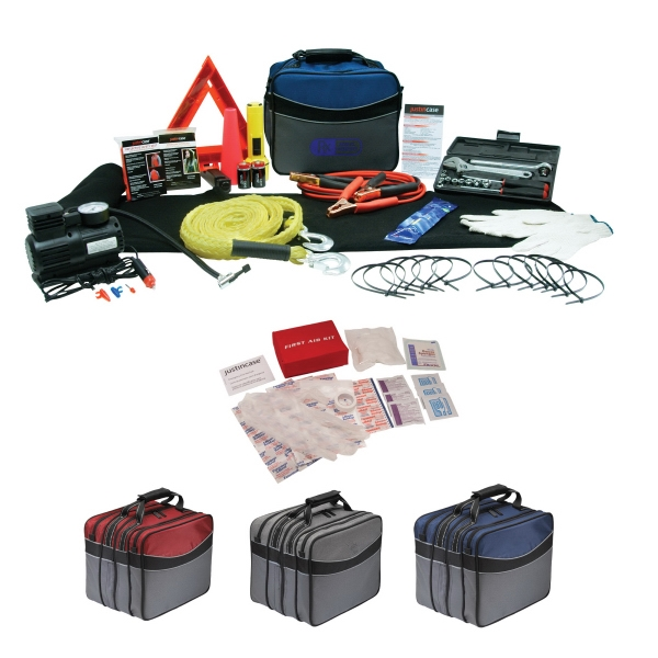Roadside Safety Kit. Includes Booster Cables, Tow Rope, Air Compressor And More Photo