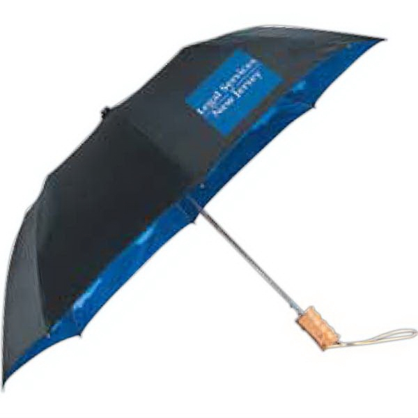 "Stromberg Brand (r) Blue Skies - 46"" Auto Folding Umbrella With Cloud Pattern On Interior Canopy Photo"