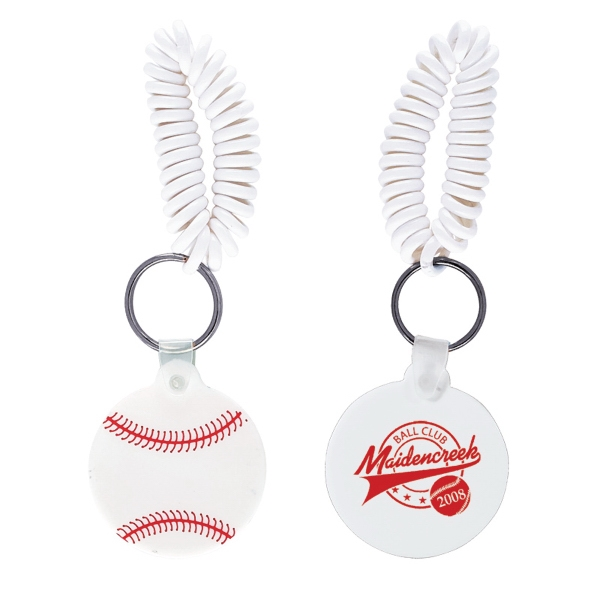 Baseball Shaped Vinyl Key Fob With Coil Wristband Photo