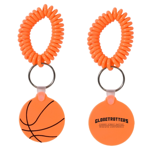 Basketball Shaped Vinyl Key Fob With Coil Wristband Photo