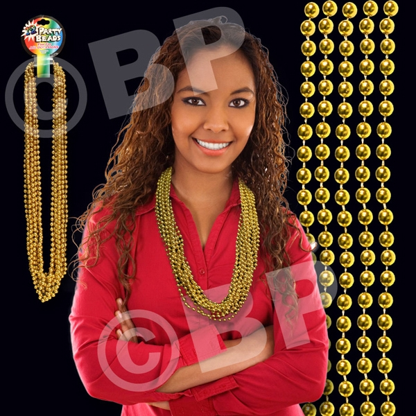 "Gold Metallic Round Beaded Mardi Gras Beads Necklace, 33"" (7mm), Blank Photo"