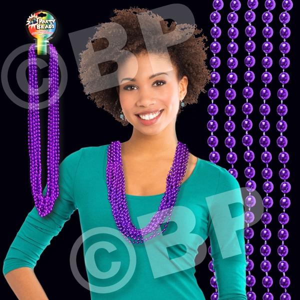 "Purple Metallic Round Beaded Mardi Gras Beads Necklace, 33"" (7mm), Blank Photo"