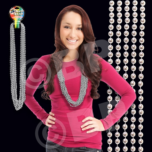 "Silver Metallic Round Beaded Mardi Gras Beads Necklace, 33"" (7mm), Blank Photo"