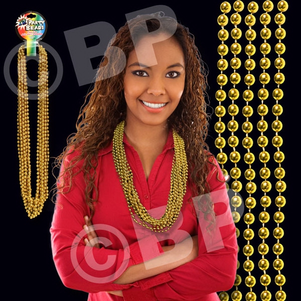 "Gold Metallic Round Beaded Necklace, 33"" (7mm), Blank Photo"