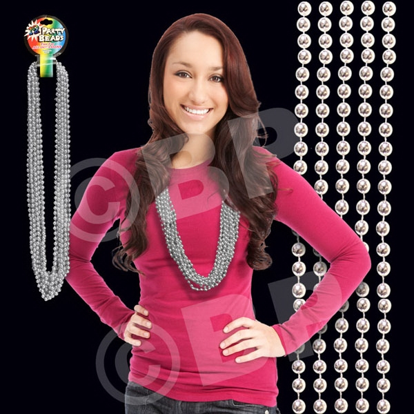 "Silver Metallic Round Beaded Necklace, 33"" (7mm), Blank Photo"