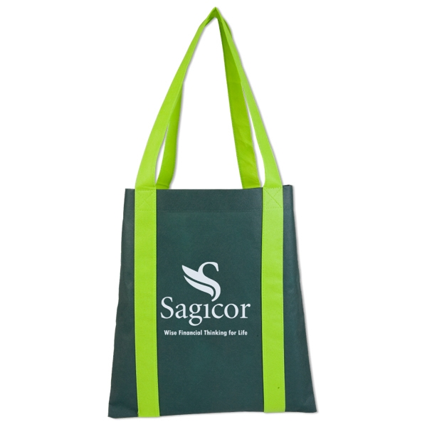 Reusable Tote Bag With Bold Color Base And Accent Color Handles. Closeout Photo