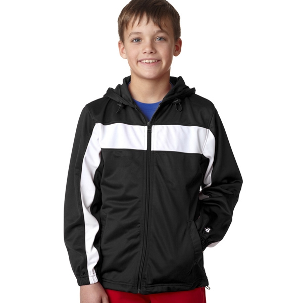Badger Youth Brushed Tricot Hooded Jacket