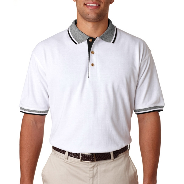 Adult White-Body Classic Pique Polo With Contrasting Multi