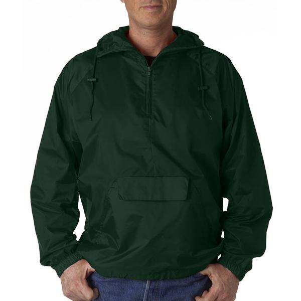 Adult 1/4-Zip Hooded Pullover Pack-Away Jacket