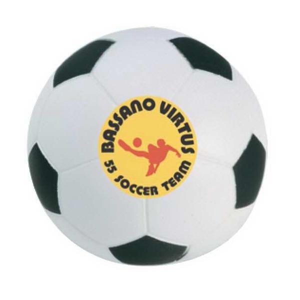 Soccer Ball Stress Reliever - Soccer ball stress reliever. Squeezable foam stress ball.